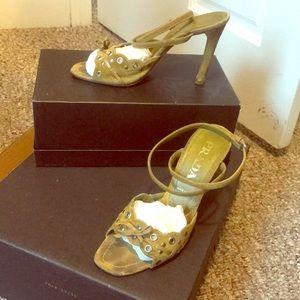 Prada green suede heels size 38.5